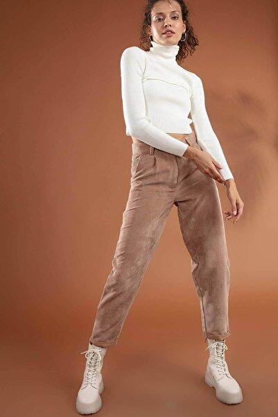 Y-London Kadın Vizon Duble Paça Cepli Kadife Pantolon Y19W126-10431-1