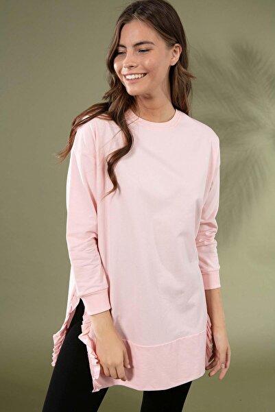 Y-London Kadın Pudra Yırtmaç Detayı Fırfırlı Sweatshirt Y20W155-6045