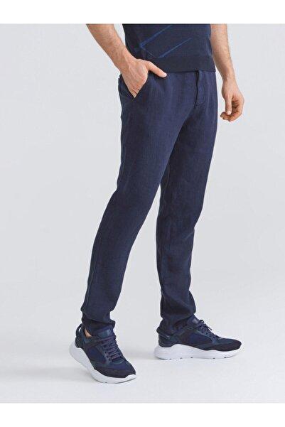 Xint Erkek Lacivert %100 Keten Slim Fit Pantolon