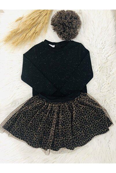 Mamino Kız Çocuk Siyah Sweat Etek Takımı