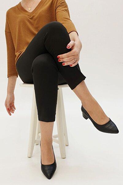 Marjin Siyah Croco Kadın Apunte Klasik Topuklu Ayakkabı 20Y00016BN722-1