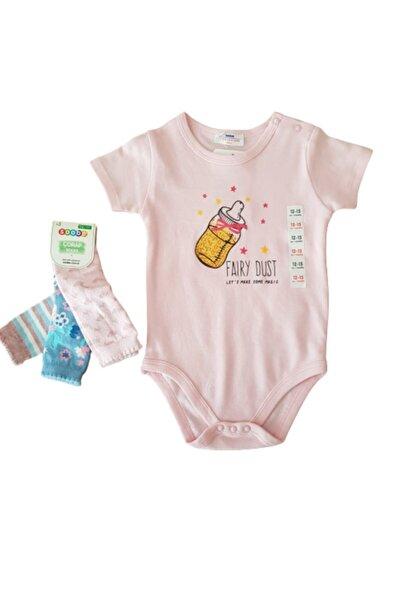 Soobe Kız Bebek Pembe Çorap Zıbın Set