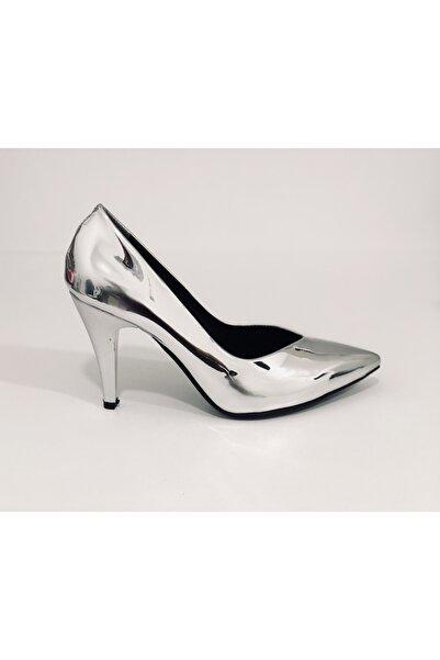 L&L Kadın Gümüş Ayna  Ince Topuklu Ayakkabı
