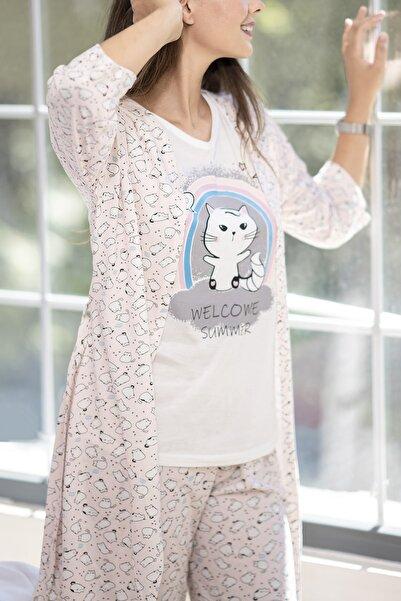 YOYOSO Kadın 5 Parça Minik Kedi Desen Pijama Takım Pembe 12000