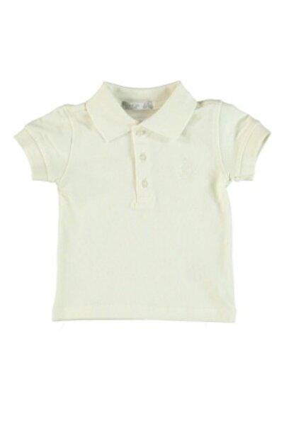 Monna Rosa Erkek Çocuk Beyaz Polo Yaka T-shirt