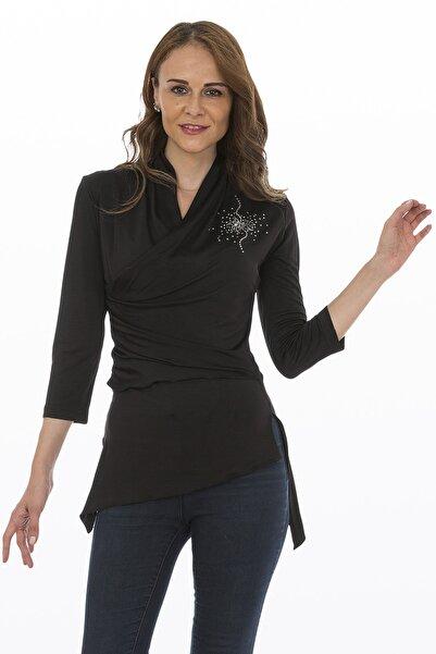 Bosca Kadın Siyah Truvakar Kol Yan Büzgülü Baskılı Likralı Bluz