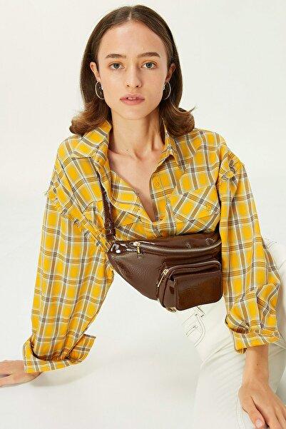 Twist Kadın Sarı Ekose Desen Gömlek TW6200025056