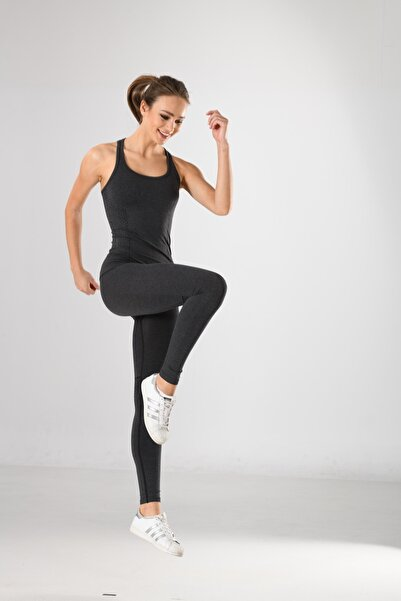 Miss Fit Takım Antrasit Detaylı Kadın Sporcu Atlet Ve Tayt Örme Seamless Dikişsiz Yoga & Fitness & Plates