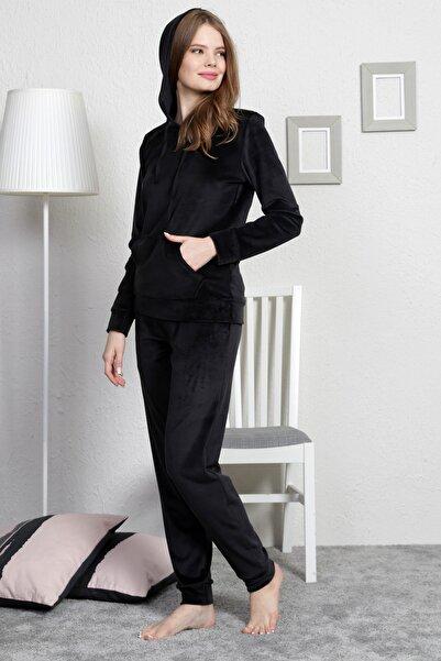 VİENETTA Kadın Siyah Uzun Kol Kadife Pijama Takım