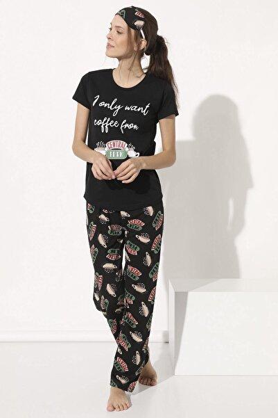 Arma Life Kadın Siyah Baskılı Pijama Takımı