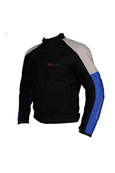 VENOM Dynamic 4 Mevsim Açık Gri / Mavi Motosiklet Montu-ceketi