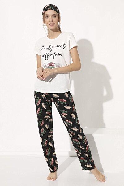 Arma Life Baskılı Pijama Takımı - Ekru Siyah