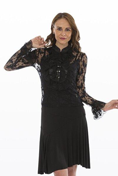 Bosca Kadın Siyah İki Parça Iİe Askılı Bluz Ön Ve Kol Volanlı Swaroski Düğmeli Kelebek Dantel Bluz