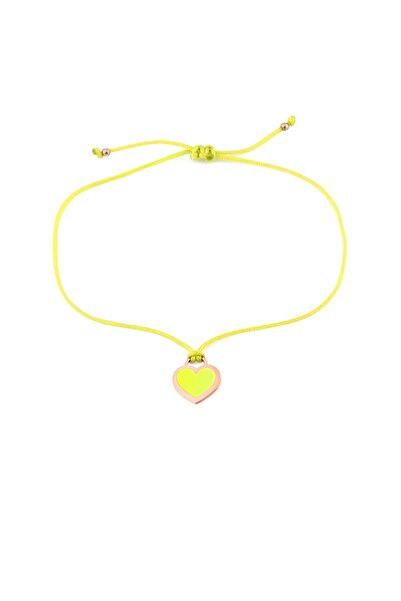 MySilvers Sarı Neon Kalp Ipli Gümüş Halhal