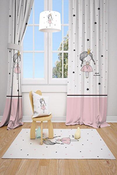 MEKTA HOME Prenses Kız Çocuk ve Bebek Odası Fon Perdesi 2 Kanat Mkt-147