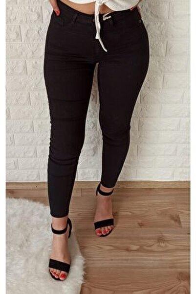 Kadın Siyah Toparlayıcı Ligralı Pantolon