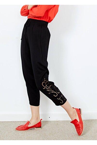 Adze Kadın Siyah Paça Detaylı Bel Lastikli Pantolon