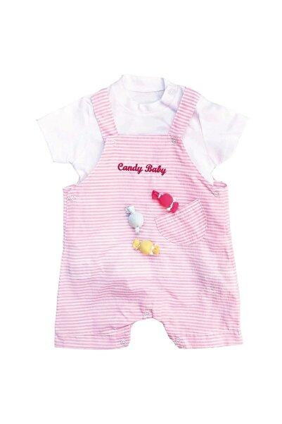bebegen Kız Candy Baby Pembe Çizgili Slopet Tulum