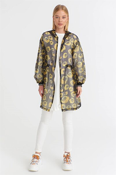 Zühre Kadın Siyah Sarı Blossom Kap Ceket K-0123