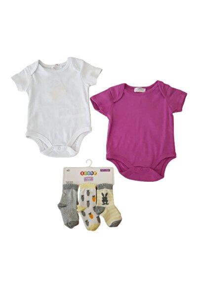Soobe Kız Çocuk Beyaz Çorap + Zıbın Set