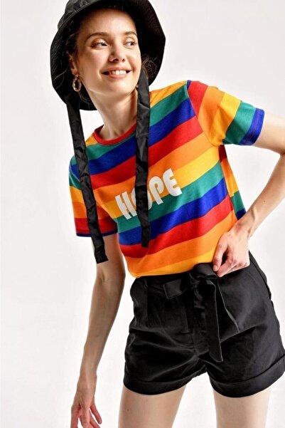 Bigdart 4140 Çizgili Hope Yazılı T-shirt