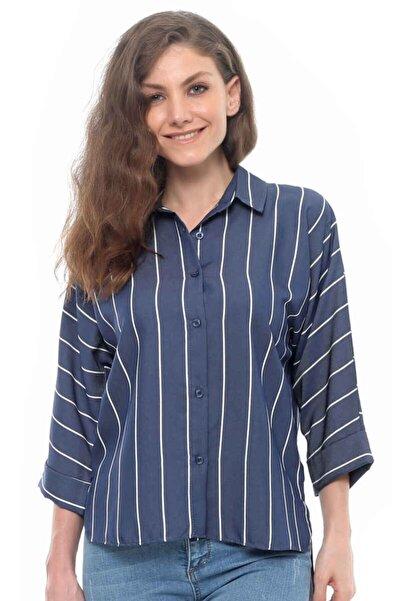Cazador Cdr 1523 Önü Kısa Arkası Uzun Çizgili Gömlek Mavı