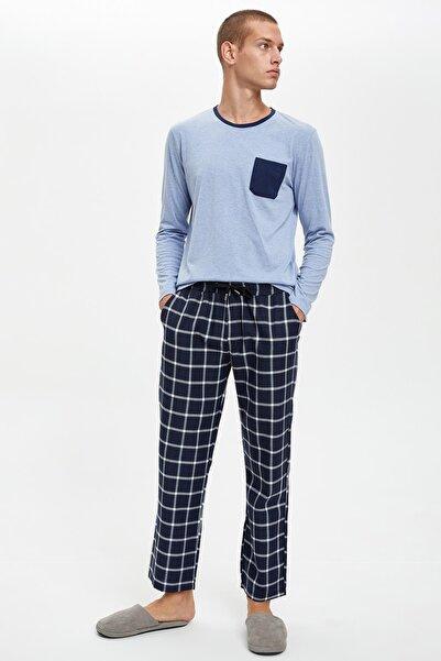 DeFacto Fit Erkek Blue Melange Pijama Takım S4586AZ20AU