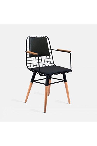 Theia Tasarım Ahşap Ayaklı Kolçaklı Ve Sırt Minderli Tel Sandalye