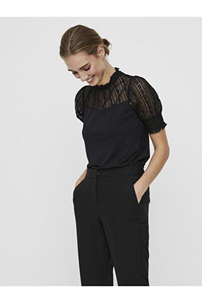 Vero Moda Kadın Siyah Kısa Kollu Dantel Detaylı Bluz 10237056 VMEMILIA