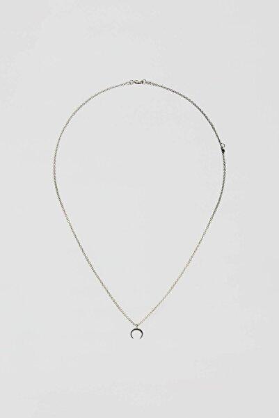 Pull & Bear Kadın Gümüş Yarım Ay Uçlu Kolye 09996344