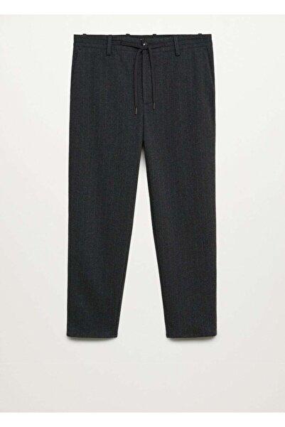 MANGO Man Erkek Koyu Eflatun Renk Daralan Paçalı Ultra Comfort Pantolon