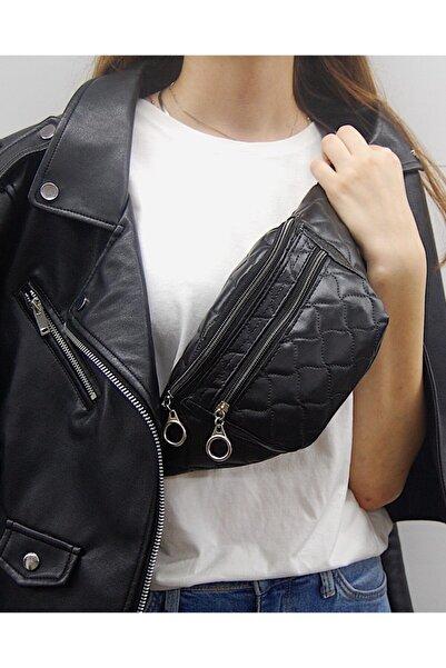 Moda West Kadın Siyah Kapitone Askılı Omuz ve Bel Çantası