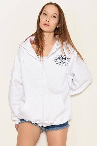 Addax Kadın Beyaz Baskılı Uzun Hırka H0927 - DK2 ADX-0000022290