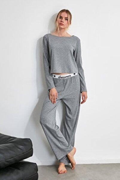 Gri Lastik Detaylı Örme Pijama Takımı THMAW21PT0269