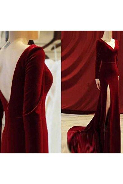 Styling Park Kadın Bordo Sırt Dekolteli Uzun Kadife Elbise