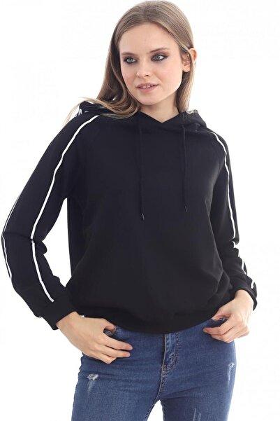 Deppoist Kadın Siyah Kapşonlu Sweatshirt