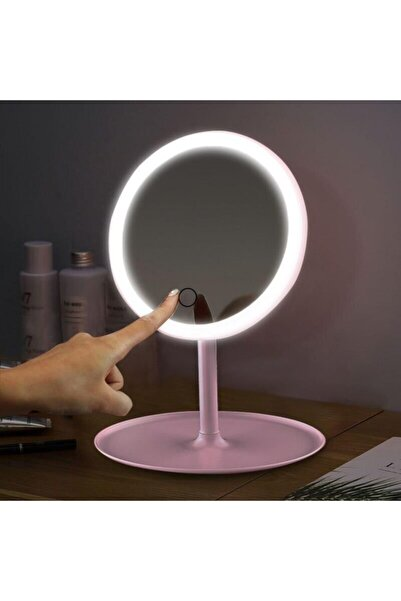 depoma consept Depoma Dokunmatik Led Işıklı Usb Li Yuvarlak Masa Üstü Makyaj Aynası