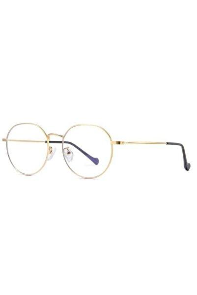 Vintage Mavi Işık Engelleme Gözlük Anti Gözlük Bilgisayar Okuma Gözlükleri Uv400 Şeffaf Lens Altın Çerçeve