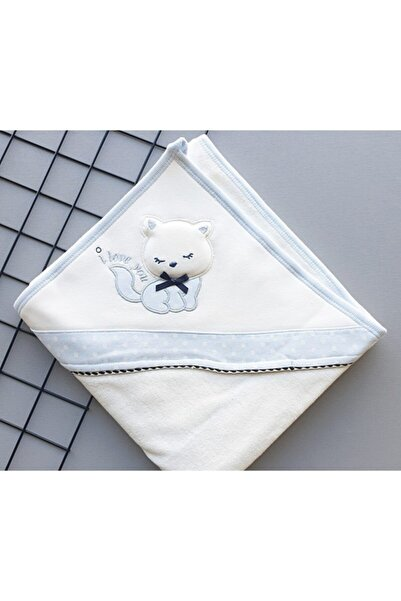 Gaye Bebe Bebek Mavi Kedi Desenli Banyo Havlusu