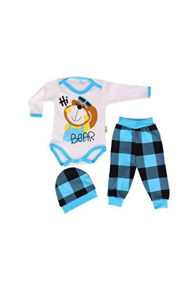 FİYONKX Bebek Takımları Uzun Kollu Çıtçıtlı Bady Şapka 3 Parça Bebek Takımı 1015 Turkuaz