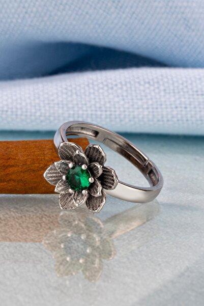 Else Silver Yeşil Taşlı Lotus Çiçeği Gümüş Yüzük