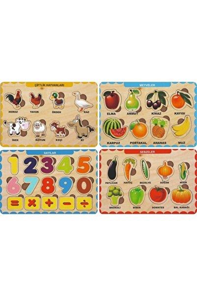 MAKETÇİNİZ 4 Adet Ahşap Bul Tak Eğitici Yapboz Puzzle Seti 4
