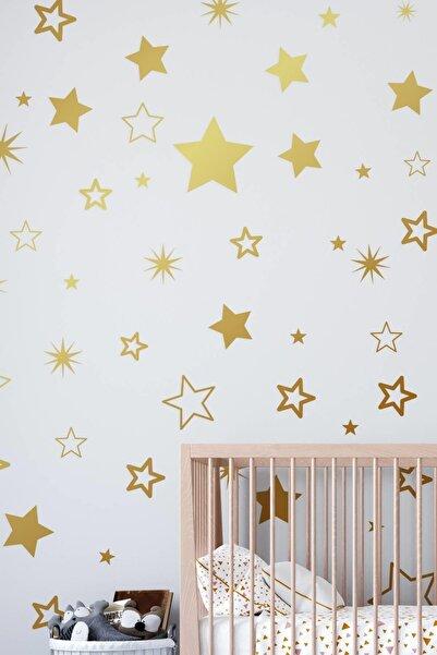 MSticker Yıldız Duvar Sticker 3-4-5 Cm 150 Adet - Gold