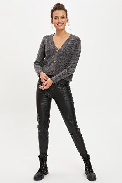 DeFacto Kadın Black Red Deri Görünümlü Skınny Fit Tayt Pantolon R6073AZ20AU