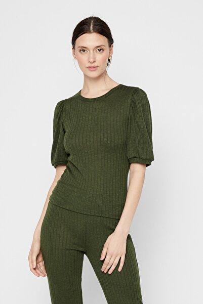 PIECES Kadın Yeşil Hafif Balon Kol Bluz 17106828 PCSKYWEN