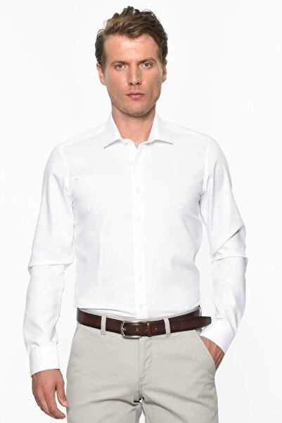 Erkek Beyaz Ütü Gerektirmeyen Non-Iron Tailored Slim Fit Gömlek