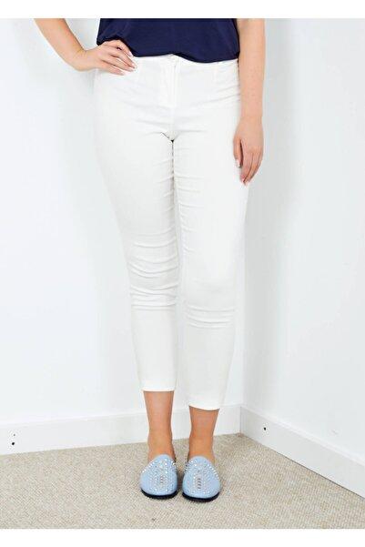 Adze Kadın Ekru Klasik Kesim Dar Paça Pantalon 44