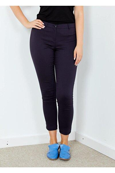 Adze Kadın Lacivert Klasik Kesim Dar Paça Pantalon