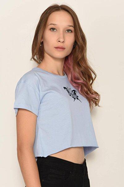 Addax Kadın Buz Mavi Baskılı Tişört P1000 - W10 ADX-0000022552