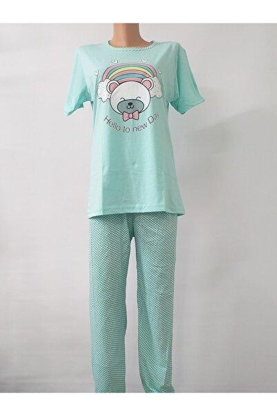 Marilyn Pijama Kadın  Mavi Desenli Pijama Takımı